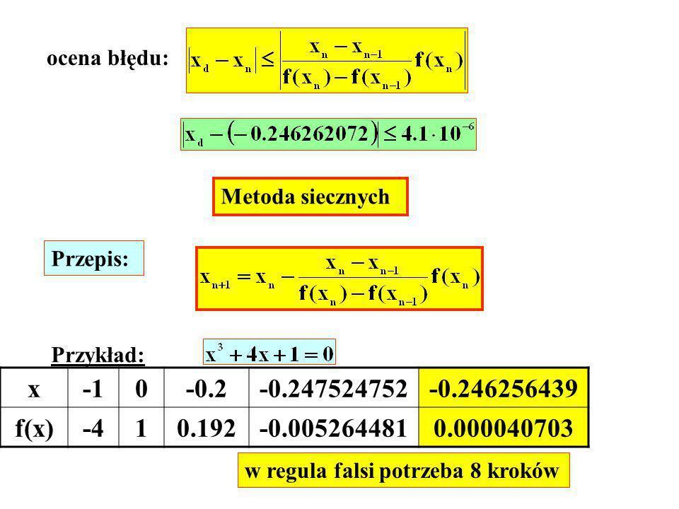 ocena błędu: Metoda siecznych. Przepis: Przykład: x. -1. -0.2. -0.247524752. -0.246256439. f(x)