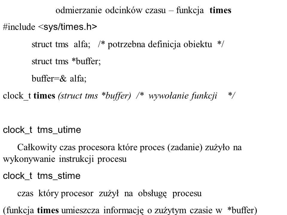 odmierzanie odcinków czasu – funkcja times