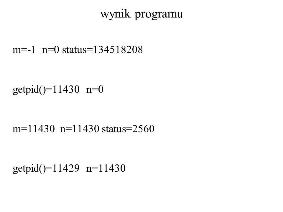 wynik programu m=-1 n=0 status=134518208 getpid()=11430 n=0