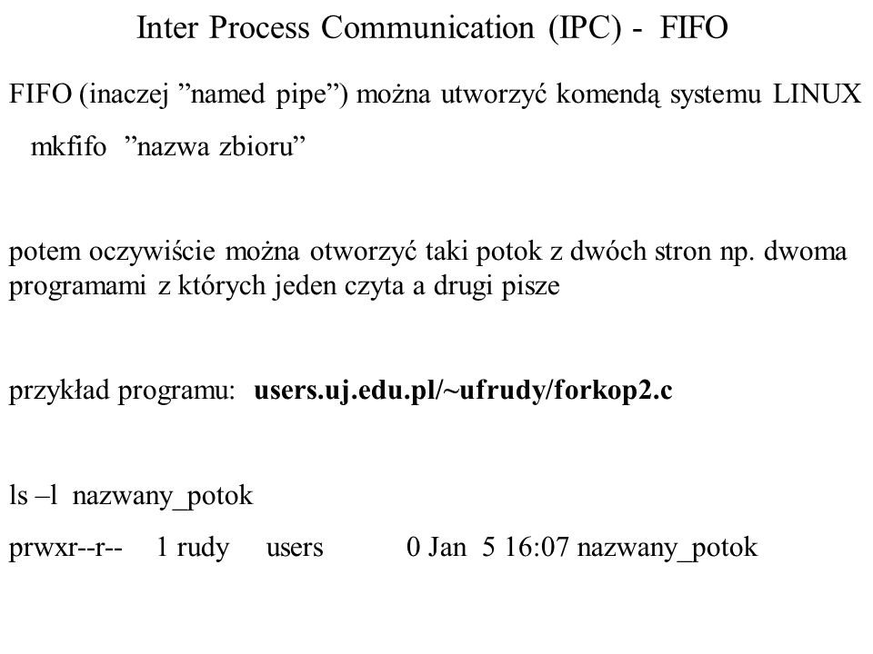 Inter Process Communication (IPC) - FIFO