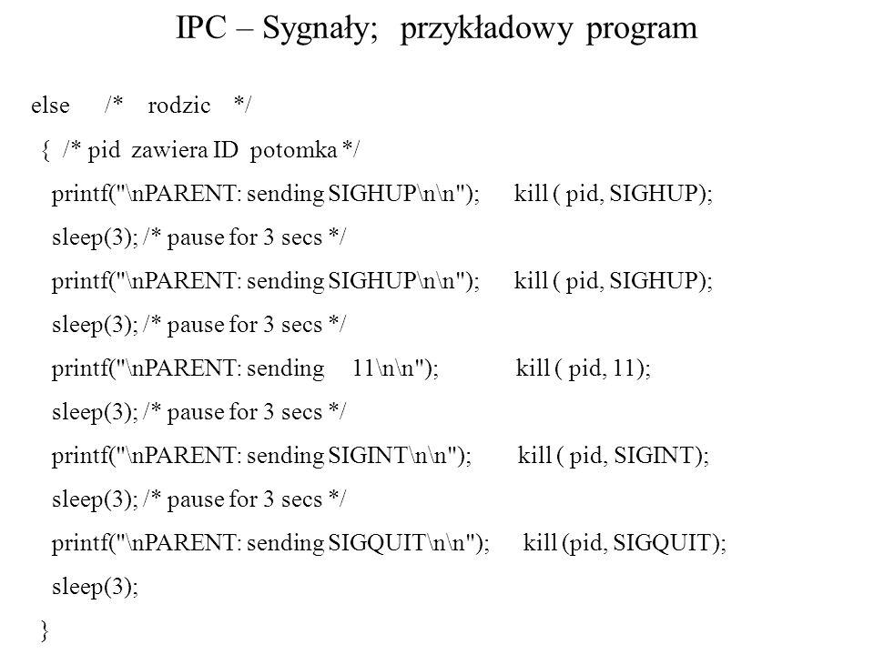 IPC – Sygnały; przykładowy program