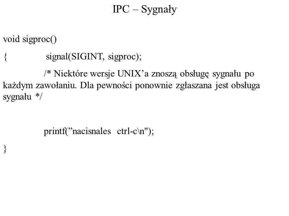 IPC – Sygnały void sigproc() { signal(SIGINT, sigproc);