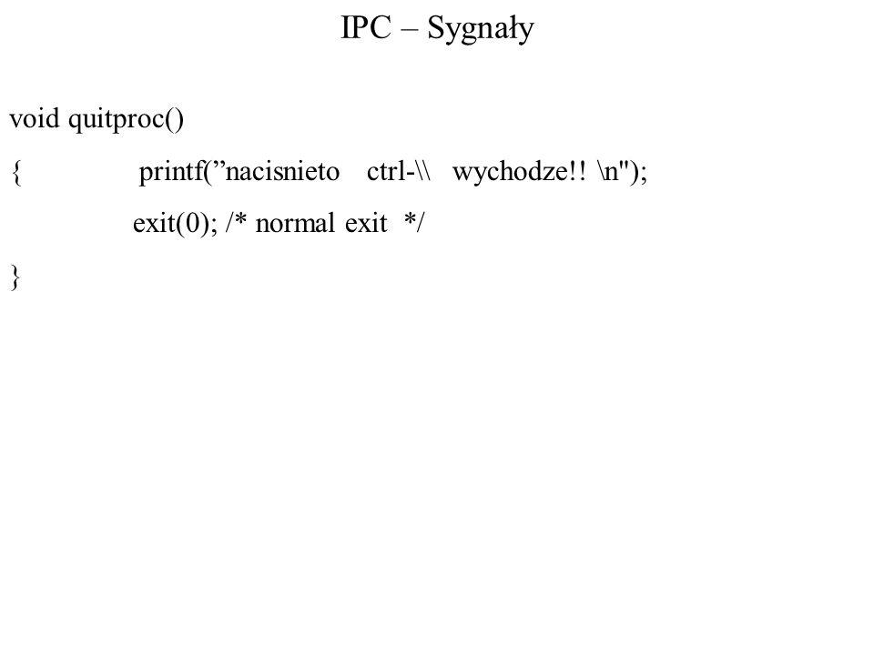 IPC – Sygnały void quitproc()
