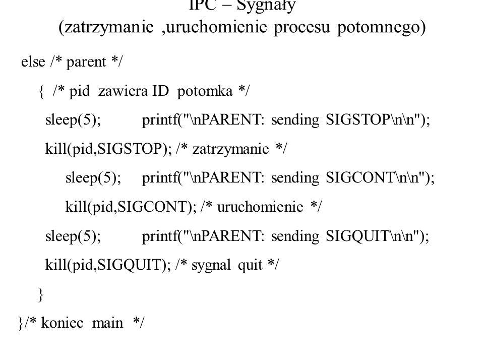 IPC – Sygnały (zatrzymanie ,uruchomienie procesu potomnego)