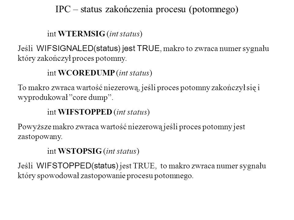 IPC – status zakończenia procesu (potomnego)
