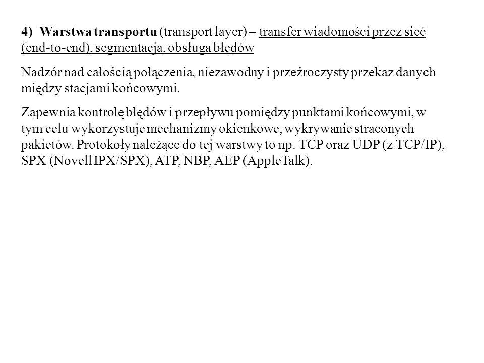 4) Warstwa transportu (transport layer) – transfer wiadomości przez sieć (end-to-end), segmentacja, obsługa błędów