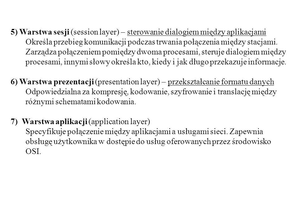 5) Warstwa sesji (session layer) – sterowanie dialogiem między aplikacjami
