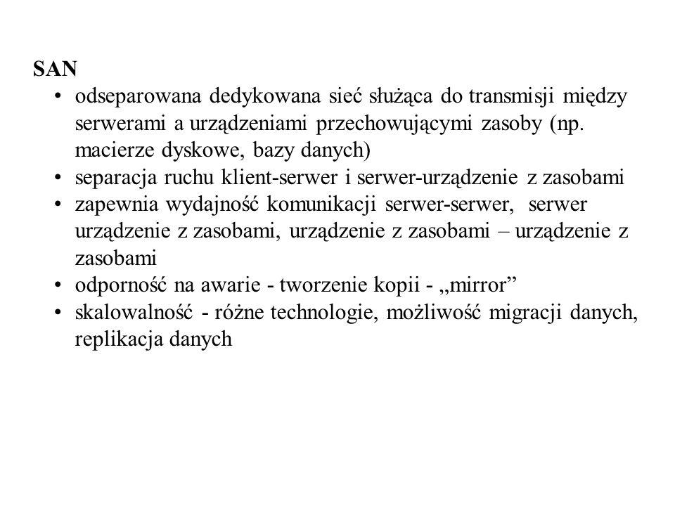 SAN odseparowana dedykowana sieć służąca do transmisji między serwerami a urządzeniami przechowującymi zasoby (np. macierze dyskowe, bazy danych)