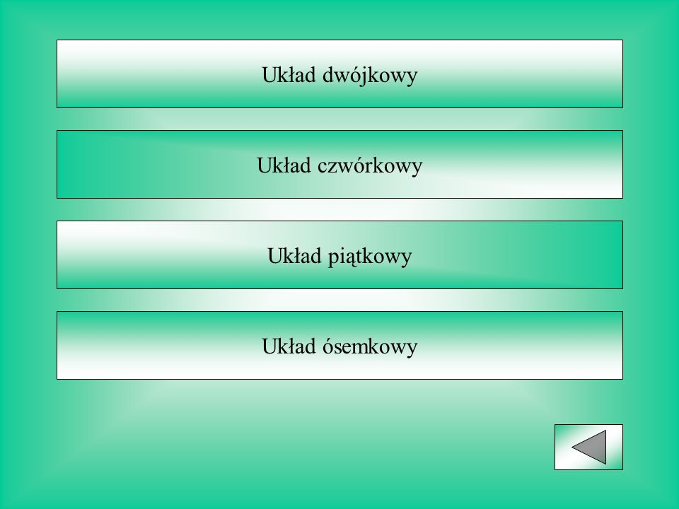 Układ dwójkowy Układ czwórkowy Układ piątkowy Układ ósemkowy