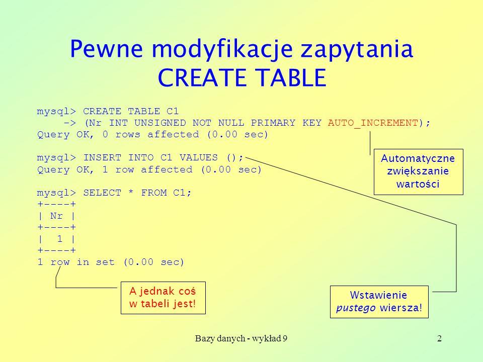 Pewne modyfikacje zapytania CREATE TABLE