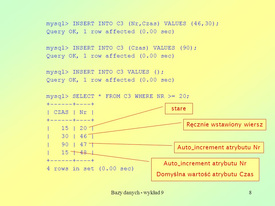 mysql> INSERT INTO C3 (Nr,Czas) VALUES (46,30);