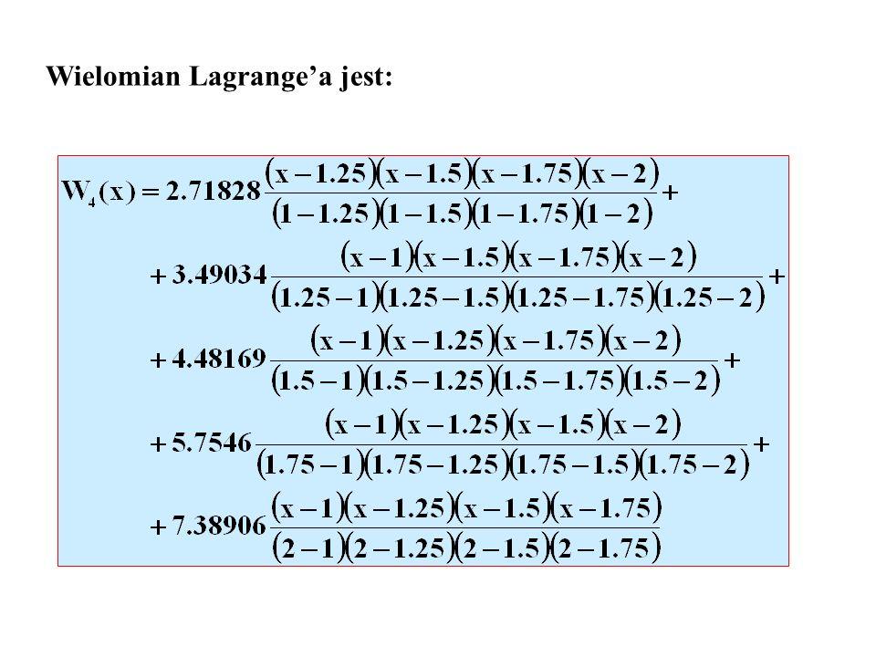 Wielomian Lagrange'a jest: