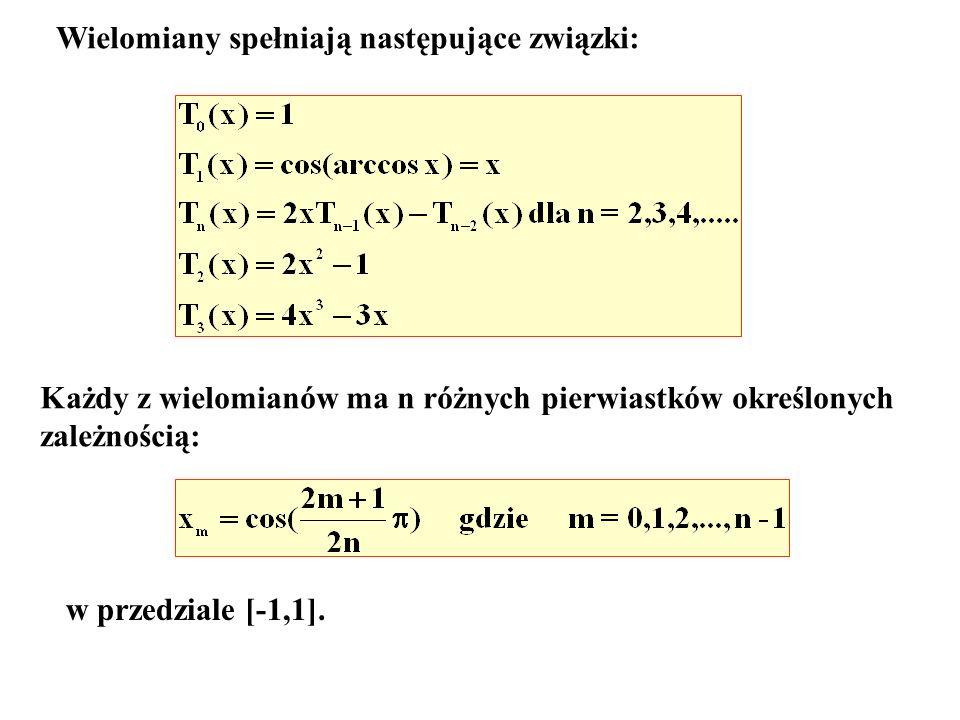 Wielomiany spełniają następujące związki: