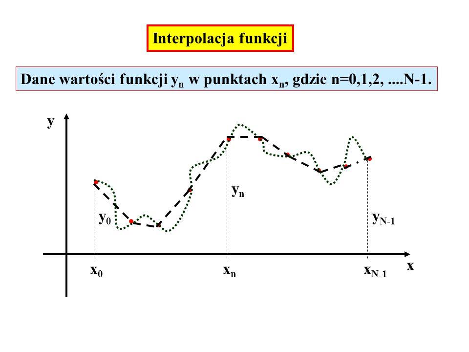 Interpolacja funkcji Dane wartości funkcji yn w punktach xn, gdzie n=0,1,2, ....N-1. y. yn. y0. yN-1.