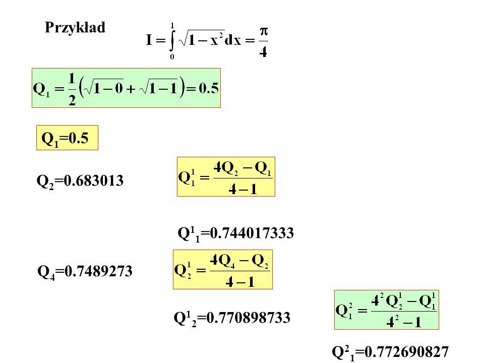 Przykład Q1=0.5 Q2=0.683013 Q11=0.744017333 Q4=0.7489273 Q12=0.770898733 Q21=0.772690827