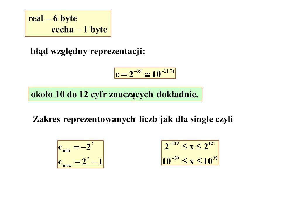 real – 6 byte cecha – 1 byte. błąd względny reprezentacji: około 10 do 12 cyfr znaczących dokładnie.