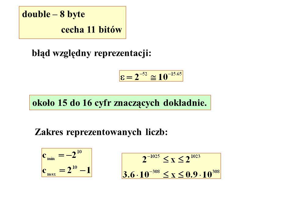 double – 8 byte cecha 11 bitów. błąd względny reprezentacji: około 15 do 16 cyfr znaczących dokładnie.