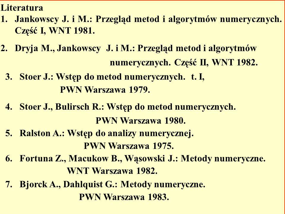Literatura Jankowscy J. i M.: Przegląd metod i algorytmów numerycznych. Część I, WNT 1981.