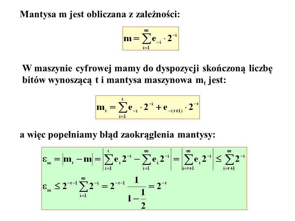 Mantysa m jest obliczana z zależności: