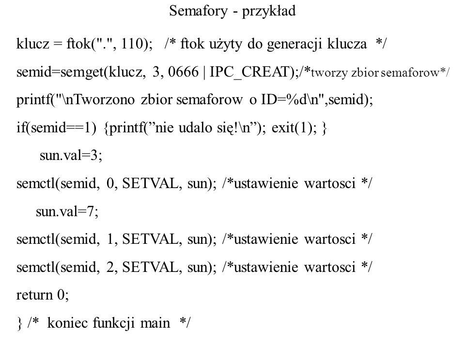 Semafory - przykład klucz = ftok( . , 110); /* ftok użyty do generacji klucza */