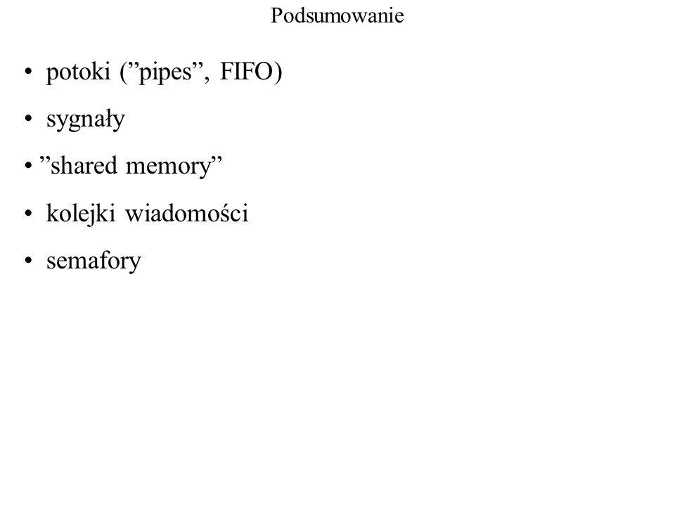 potoki ( pipes , FIFO) sygnały shared memory kolejki wiadomości