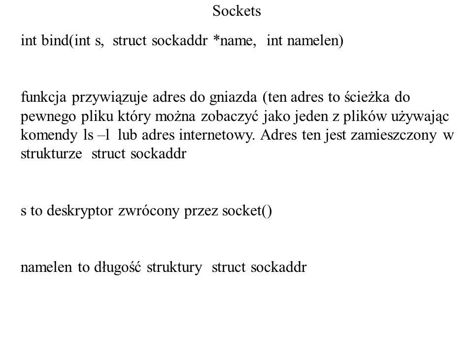 Socketsint bind(int s, struct sockaddr *name, int namelen)