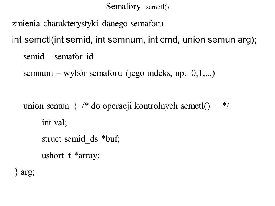 Semafory semctl() zmienia charakterystyki danego semaforu. int semctl(int semid, int semnum, int cmd, union semun arg);