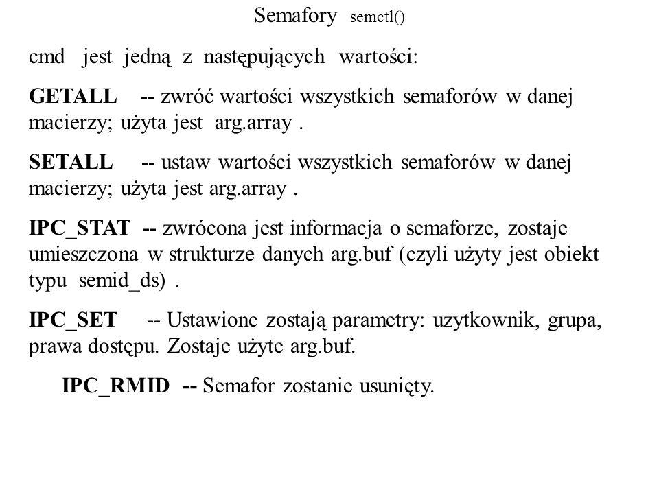 Semafory semctl() cmd jest jedną z następujących wartości: