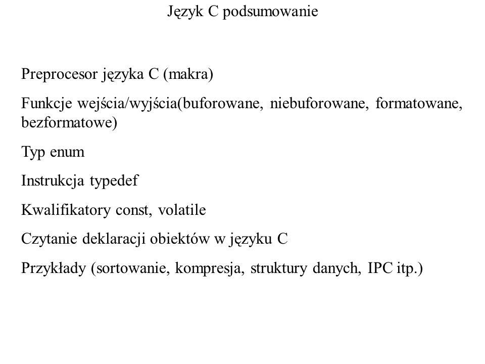 Język C podsumowanie Preprocesor języka C (makra) Funkcje wejścia/wyjścia(buforowane, niebuforowane, formatowane, bezformatowe)