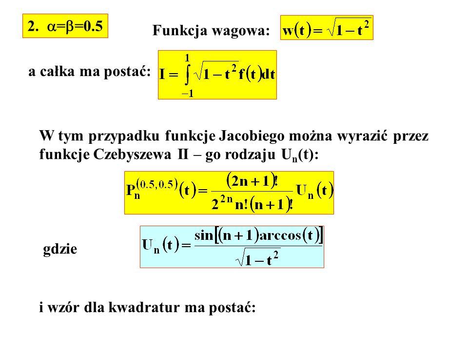 2. ==0.5 Funkcja wagowa: a całka ma postać: W tym przypadku funkcje Jacobiego można wyrazić przez.