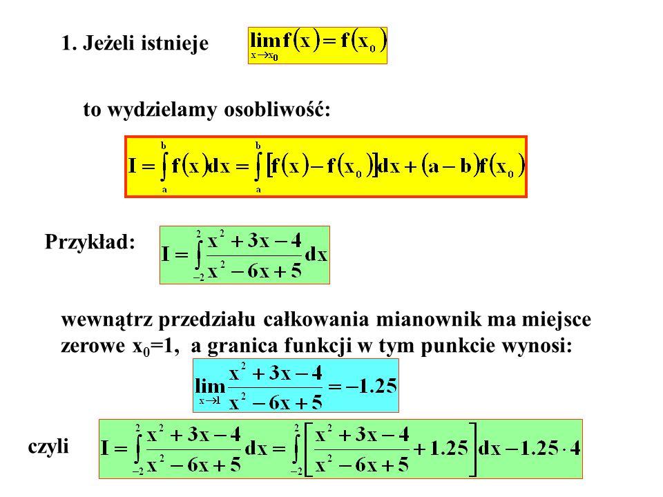 1. Jeżeli istnieje to wydzielamy osobliwość: Przykład: wewnątrz przedziału całkowania mianownik ma miejsce.