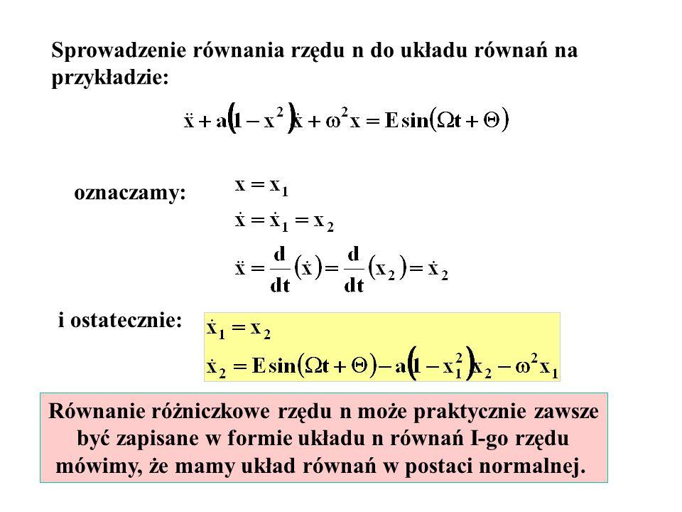 Sprowadzenie równania rzędu n do układu równań na przykładzie: