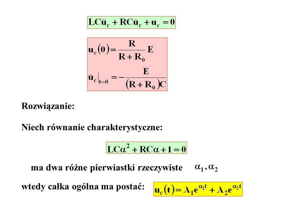 Rozwiązanie: Niech równanie charakterystyczne: ma dwa różne pierwiastki rzeczywiste.