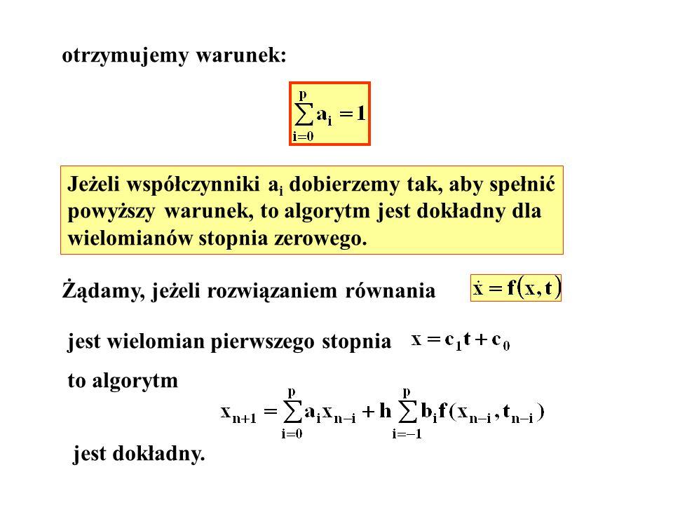 otrzymujemy warunek: Jeżeli współczynniki ai dobierzemy tak, aby spełnić. powyższy warunek, to algorytm jest dokładny dla.