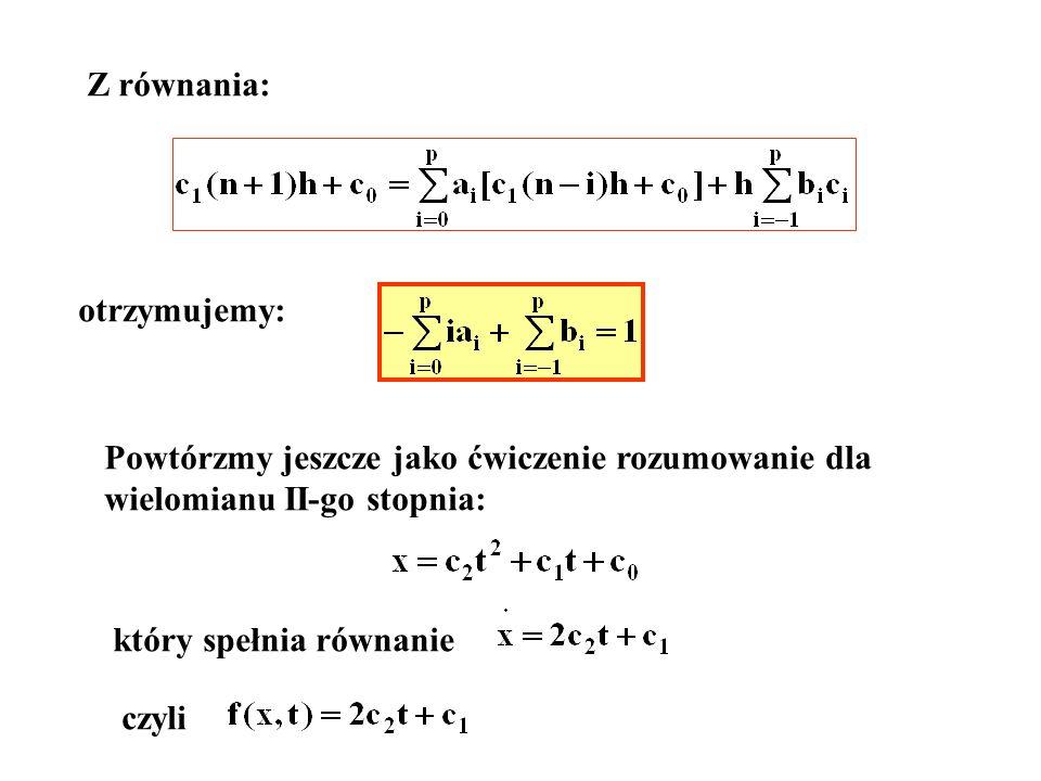Z równania: otrzymujemy: Powtórzmy jeszcze jako ćwiczenie rozumowanie dla. wielomianu II-go stopnia: