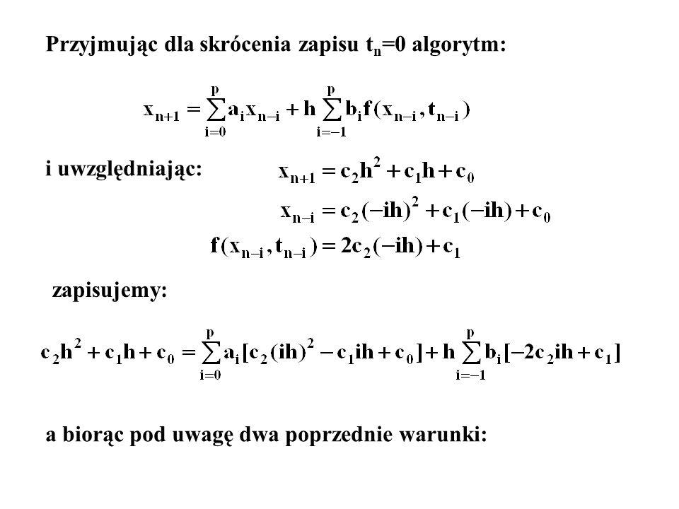 Przyjmując dla skrócenia zapisu tn=0 algorytm: