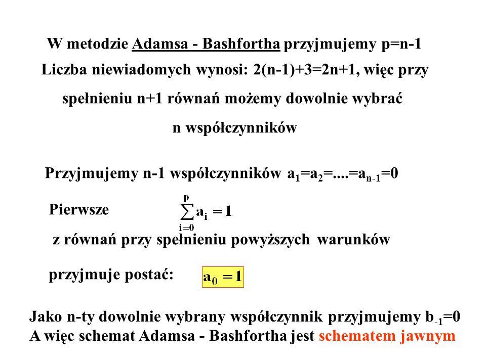 W metodzie Adamsa - Bashfortha przyjmujemy p=n-1