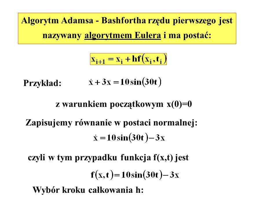 Algorytm Adamsa - Bashfortha rzędu pierwszego jest