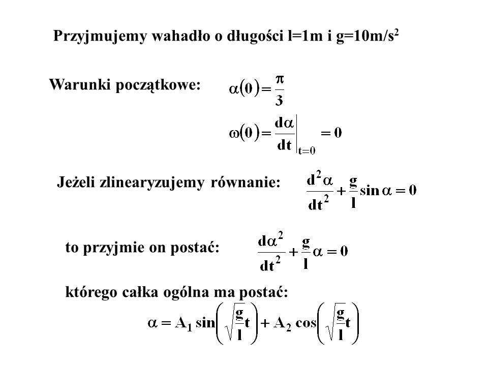 Przyjmujemy wahadło o długości l=1m i g=10m/s2