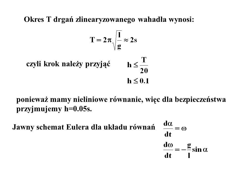 Okres T drgań zlinearyzowanego wahadła wynosi: