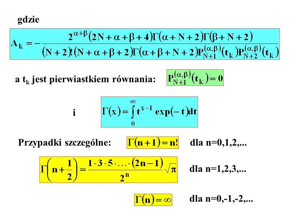 gdzie a tk jest pierwiastkiem równania: i. Przypadki szczególne: dla n=0,1,2,... dla n=1,2,3,...