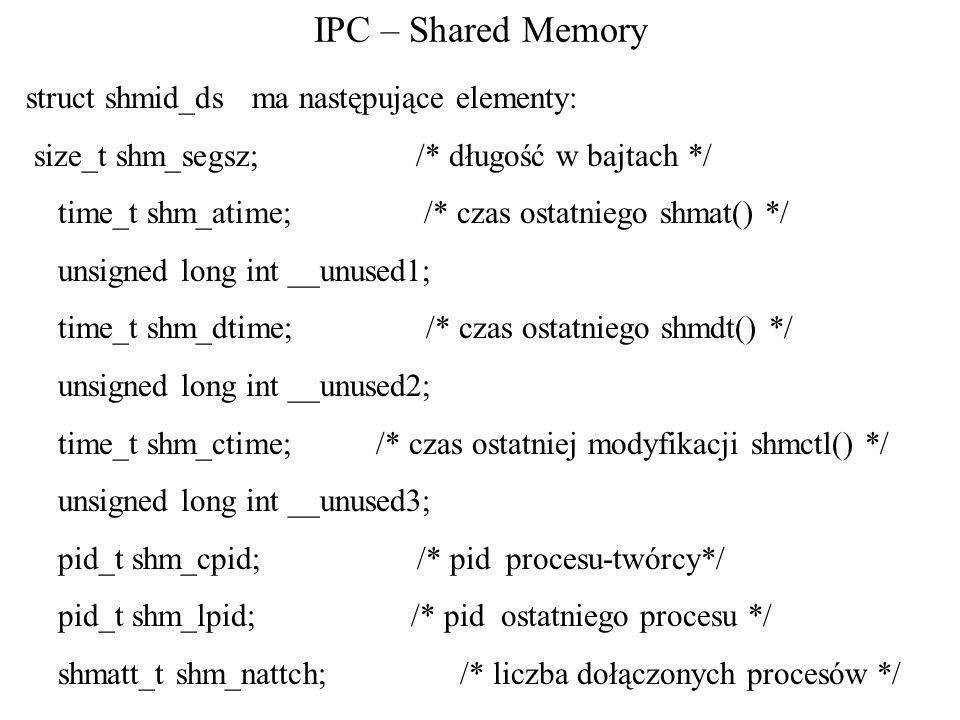 IPC – Shared Memory struct shmid_ds ma następujące elementy: