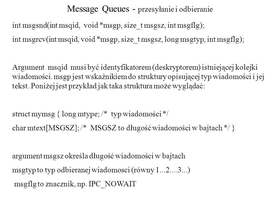 Message Queues - przesyłanie i odbieranie