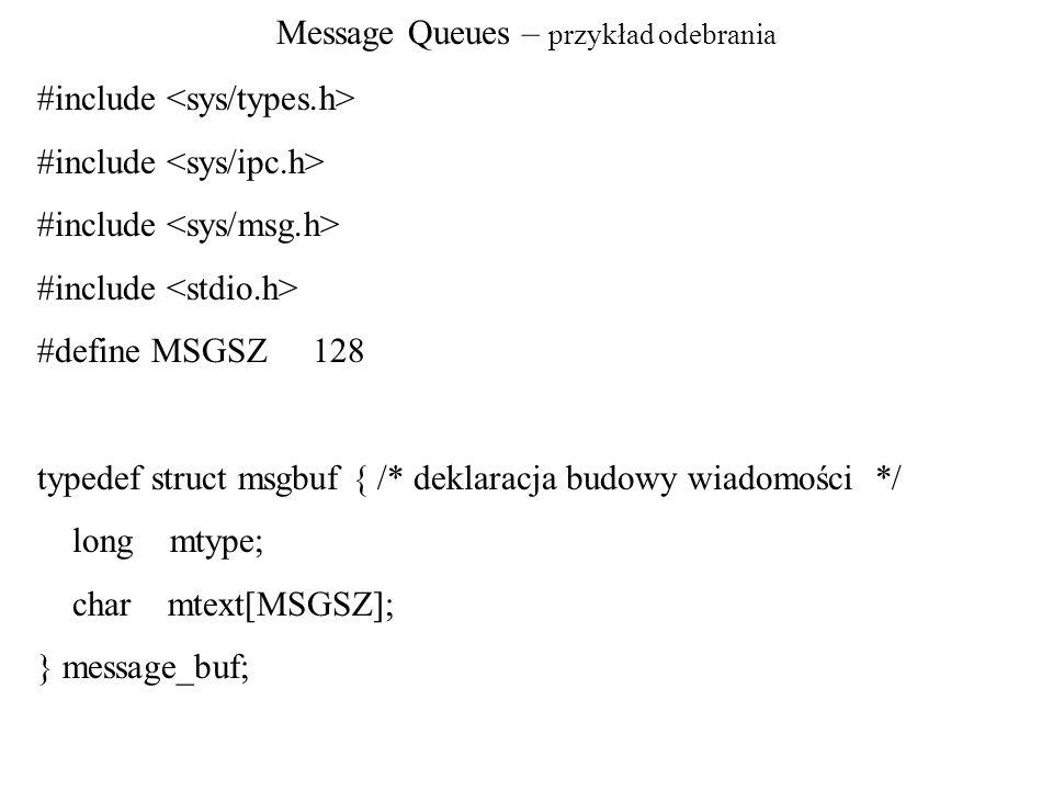Message Queues – przykład odebrania