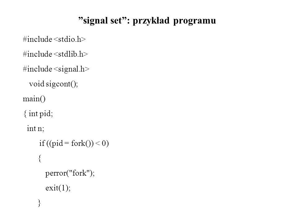 signal set : przykład programu