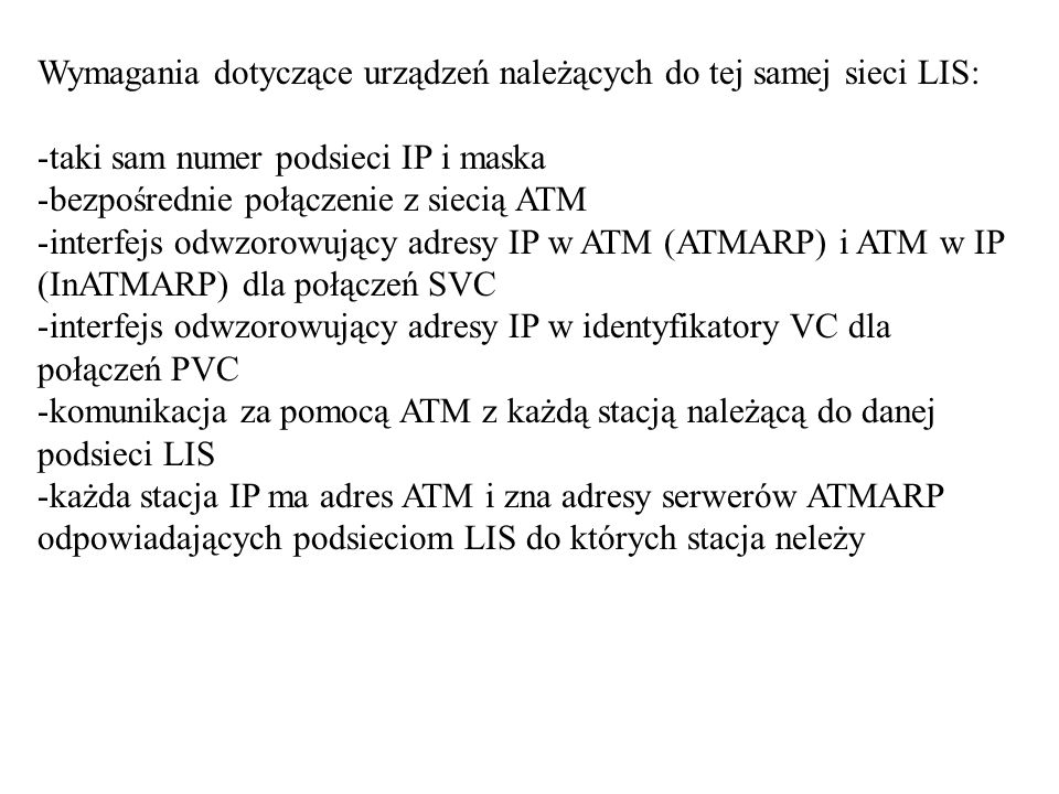 Wymagania dotyczące urządzeń należących do tej samej sieci LIS: