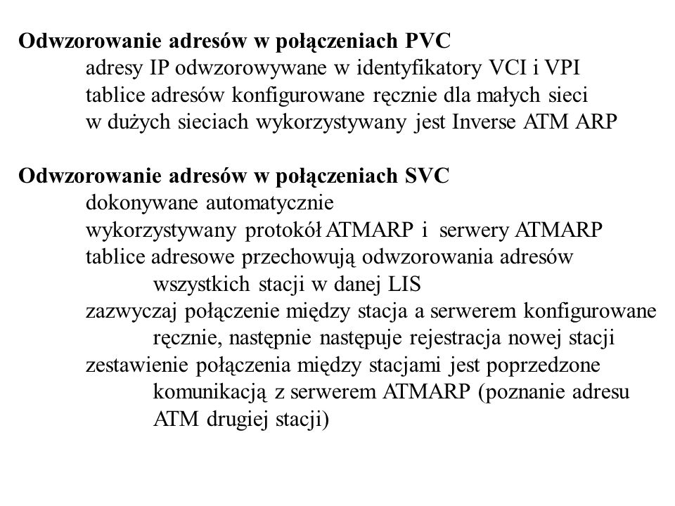 Odwzorowanie adresów w połączeniach PVC