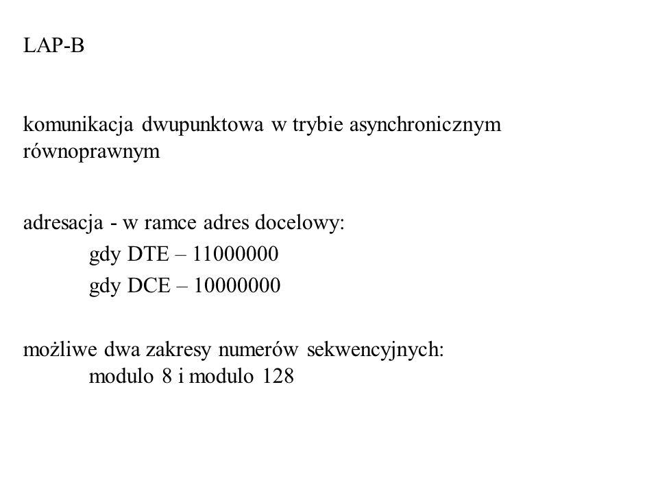 LAP-B komunikacja dwupunktowa w trybie asynchronicznym równoprawnym. adresacja - w ramce adres docelowy: