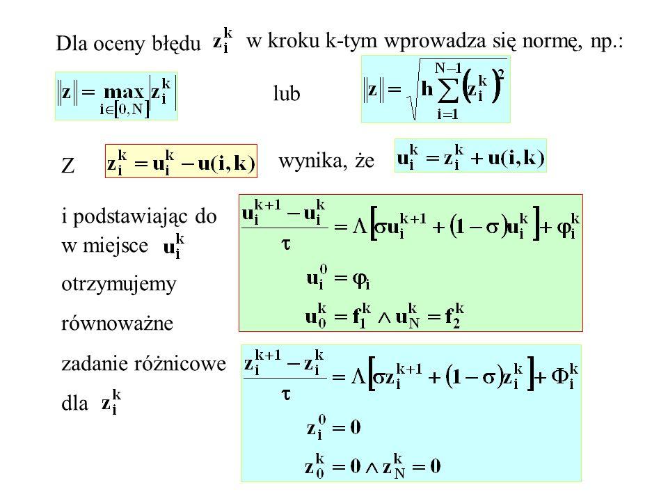 Dla oceny błęduw kroku k-tym wprowadza się normę, np.: lub. wynika, że. Z. i podstawiając do. w miejsce.