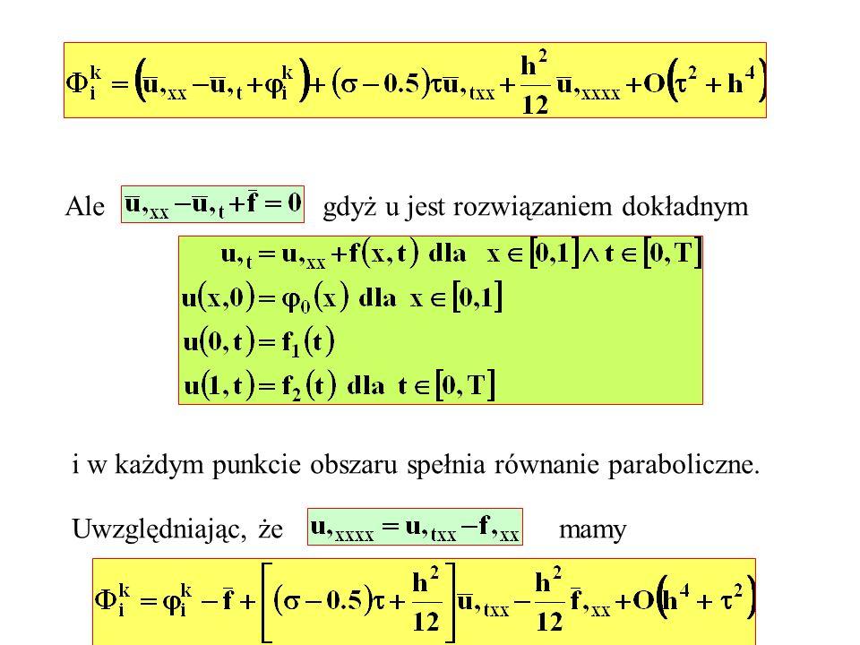 Alegdyż u jest rozwiązaniem dokładnym. i w każdym punkcie obszaru spełnia równanie paraboliczne. Uwzględniając, że.